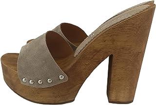 Silfer Shoes - Zoccolo in Vero Legno e Pelle di camoscio, Colore Cipria Beige