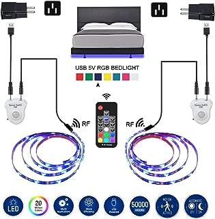 LED Strip Lights, Topled 6.56ft Motion Sensor RGB LED Light Strip 5050 LED Tape Lights, Color Changing LED Strip lighting with RF Remote for Home Kitchen Bed Strip Lights for Bar Indoor Decoration