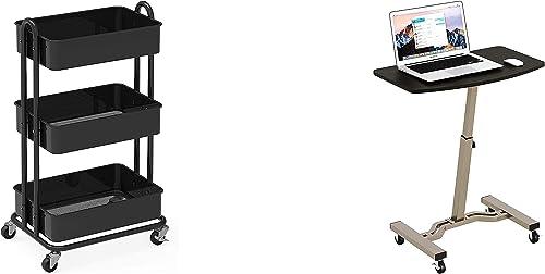 wholesale SimpleHouseware Heavy Duty 2021 3-Tier Metal Utility Rolling Cart + Mobile Laptop Stand Desk new arrival Rolling Cart online