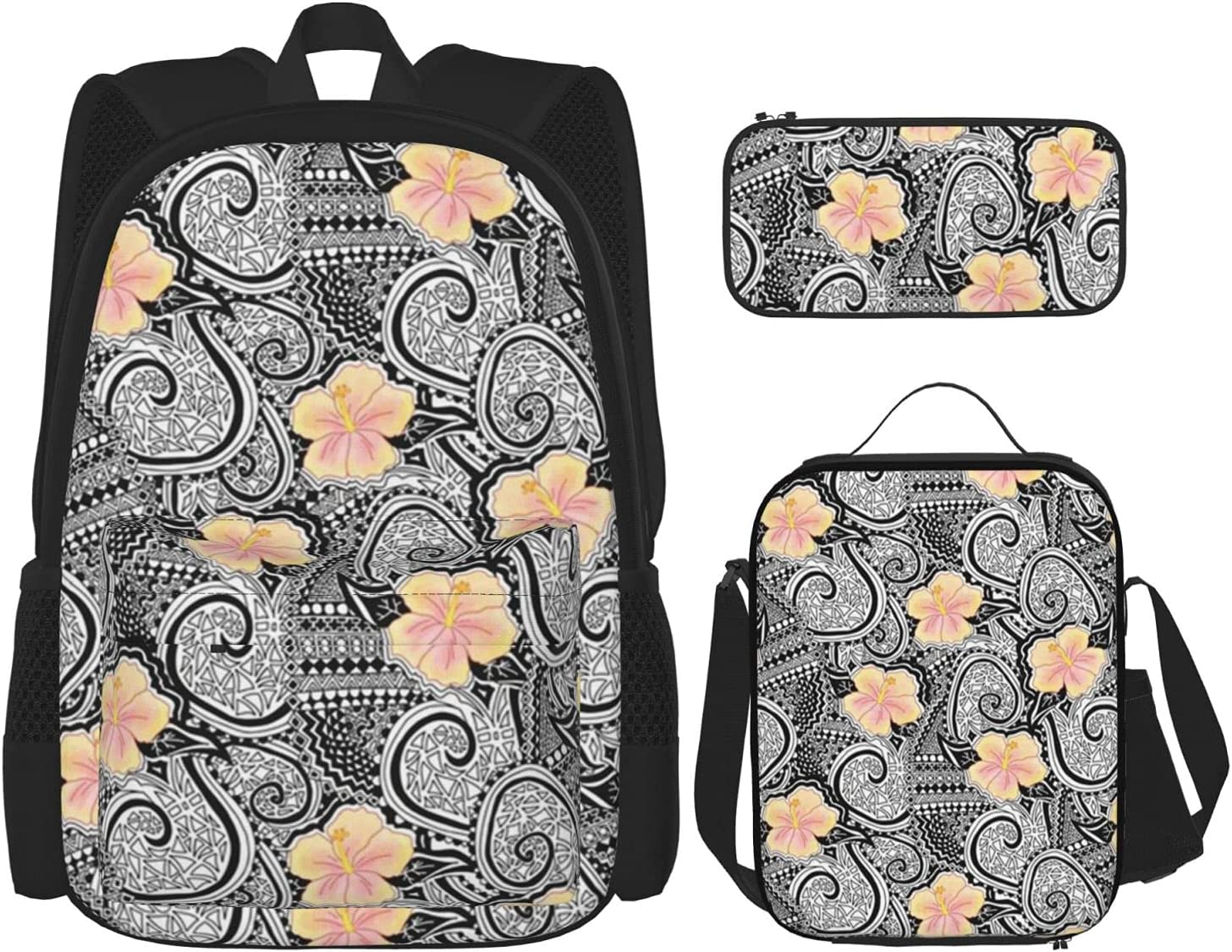 Backpack Bags Yellow Orange Ranking TOP14 Hibiscus Genuine Free Shipping Lunch with Flowers Bag