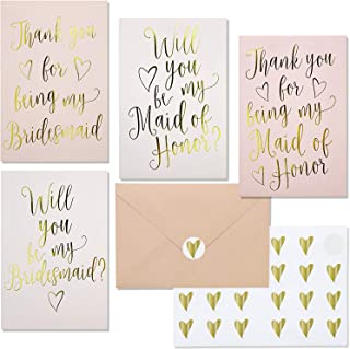 Juvale 24-Pack Bridesmaid Proposal Invitations and Thank You Cards with Envelopes and Stickers, Gold Foil, 4 x 6 Inches