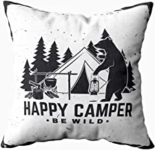 Shorping Decrotive Pillow Covers, Zippered Covers Pillowcases 18X18Inch Throw Pillow Covers Happy Be Wild for Home Sofa Bedding