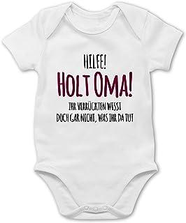 Shirtracer Hilfe Holt Oma - Baby Body Kurzarm für Jungen und Mädchen