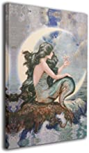 MARTOO ART Mermaid Moon Starfish Stars Wall Artworks Painting for Home Decoration Bathroom Wall Decor Canvas Prints Pictur...