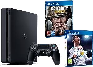 PS4 Slim 1Tb Negra Playstation 4 Consola - Pack 2 Juegos - FIFA 18 + Call of Duty WW2