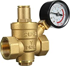 """Messing Waterdrukregelaar Reducer DN20 NPT 3/4""""Verstelbaar met gauge meter PN 1.6 voor hydraulische instabiliteit/waterzui..."""