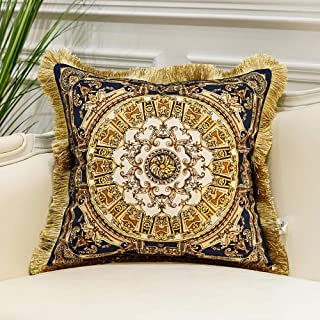 Avigers Luxury European Classical Aristocratic Style Throw Pillow Cases Decorative Velvet Cushion Covers for Couch Car Bedroom, 18 X 18 Inches, Blue Gold