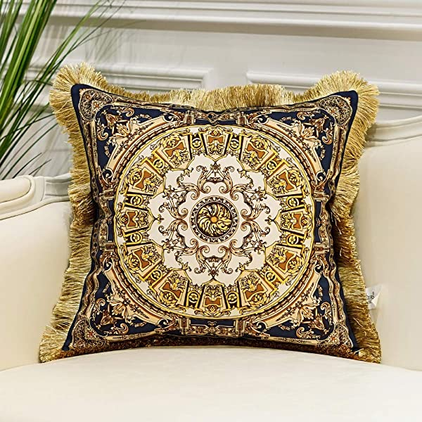 Avigers Luxury European Classical Aristocratic Style Throw Pillow Cases Decorative Velvet Cushion Covers For Couch Car Bedroom 18 X 18 Inches Blue Gold