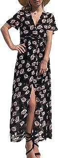 Vestido de gasa floral con cuello en V para mujer de verano de playa Boho de manga corta vestidos largos