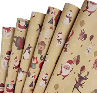 RUSPEPA Christmas Kraft Wrapping Paper Santa Claus Xmas Theme Elements Great for Christmas, Birthdays, Holiday, Baby Shower - 6 Sheets Packed as 1 roll- 17.5 x 30 Inch per Sheet