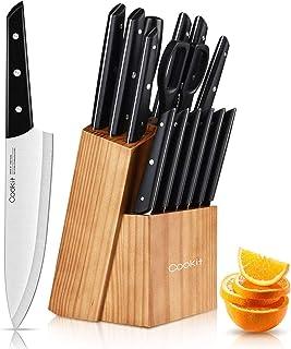 Couteaux de Cuisine, 15 Pièces Set de Couteaux Professionnel, Acier Inoxydable à Haute Teneur en Carbone et avec Un à Stea...