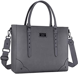 MOSISO Laptop Bag for Women Laptop Tote Bag Multi-Pocket Briefcase for Women, Premium PU Leather Business Work Travel Shoulder Sturdy Handbag with Adjustable Strap and Rivets Gray Space Gray 15.6 Inch