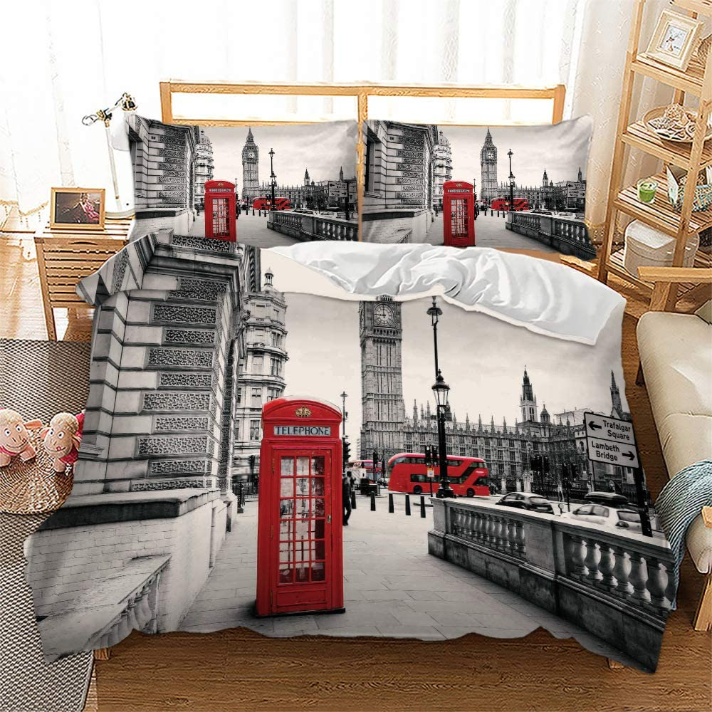 BWE Home London Duvet Cover 大注目 Size Twin Landmarks AL完売しました Telephone