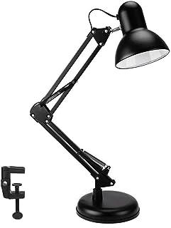 Wafting Lámpara de escritorio, lámpara de mesa, LED adicional, bombilla y pinza, estructura de acero, posición de sombra ajustable, lámpara de arquitecto para oficina, hogar o dormitorio, color negro