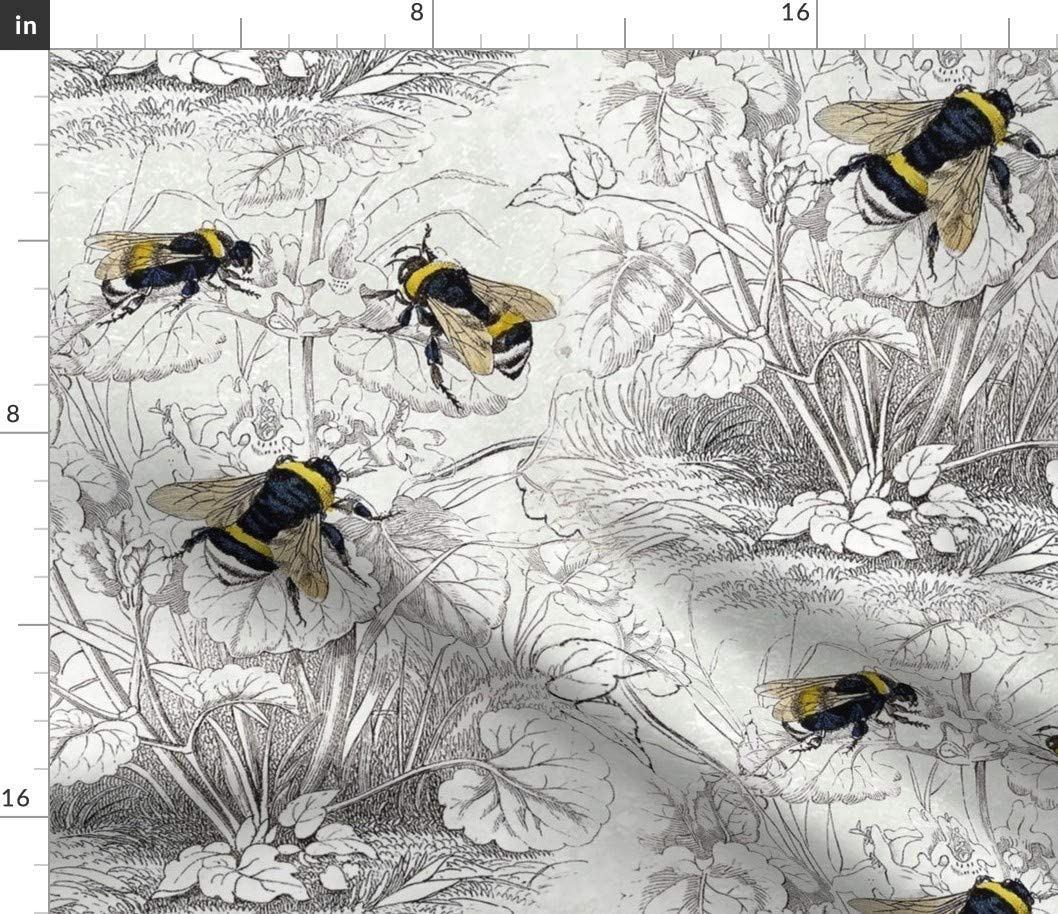 Spoonflower Fabric <セール&特集> - Bee Honey Vintage Il 2020春夏新作 Floral Antique Flowers