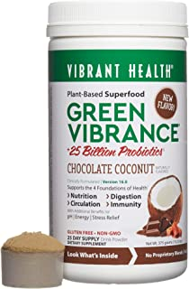 Vibrant Health, Green Vibrance, Plant-Based Superfood to Support Immunity, Digestion, and Energy, 25 Billion Probiotics, Gluten Free, Non-GMO, Vegetarian, Chocolate Coconut, 25 Servings