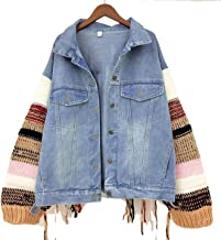 DJEA Women's Retro Harajuku Street Windbreaker Fashion Denim Jacket