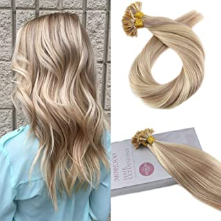 Moresoo 16 Inch Pre Bonded Hair Extensions Color 18 Ash Blonde Highlighted with 613 Blonde Utip Remy Hair Extensions 1gram 1strand Fusion Human Hair Keratin Hair Total 50grams 50strands