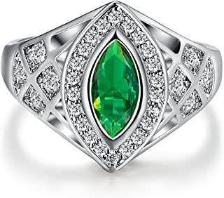925 Sterling Silver Marquise Cut Created Tourmaline Filled Ring Band for Women