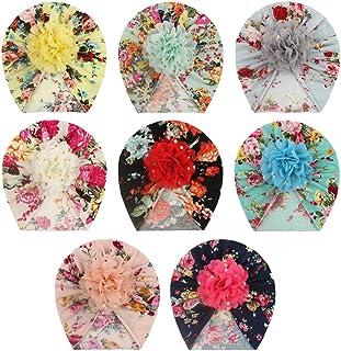 Baby Girls Nylon Headbands 8Pcs, IIS Chiffon Flowers Newborn Infant Toddler Hairbands and Child Hair Accessories (Multicol...