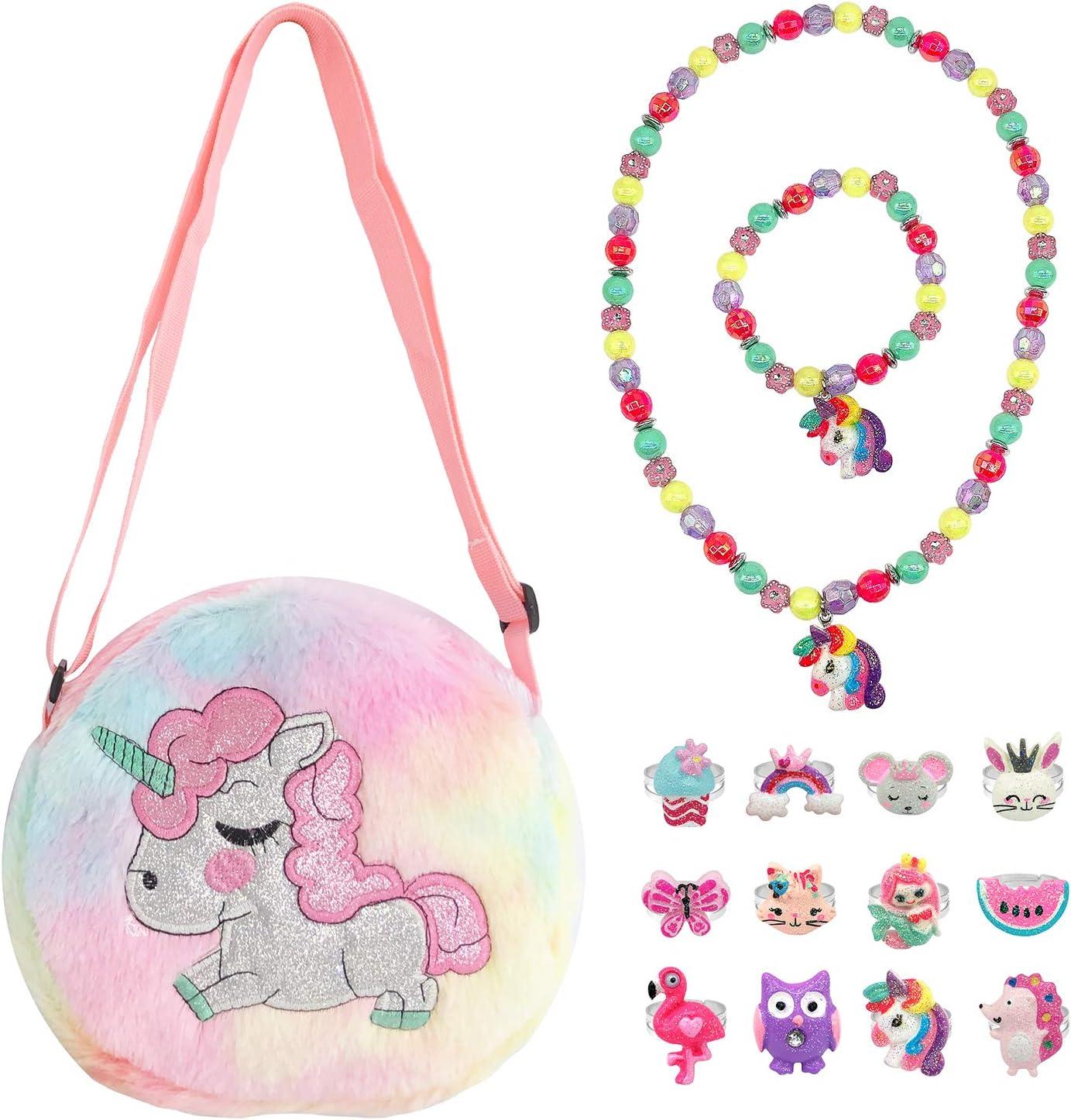 Elesa Miracle Little Girl Plush Purse Handbag Kids Necklace Pret