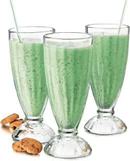 Fountain Shoppe Classic, Milk Shake, Ice Cream Soda Glass, 12-Ounce, Clear 4 PACK By Chefcaptain (4 Glasses)