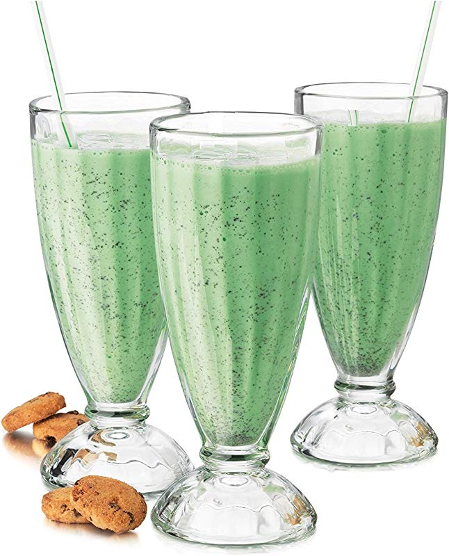 Fountain Shoppe Classic Milk Shake Ice Cream Soda Glass 12 Ounce Clear 4 PACK By Chefcaptain 4 Glasses