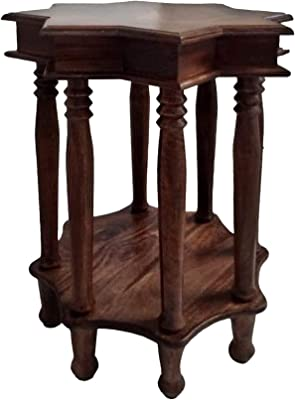 The Urban Port Star Shape Top Mango Wood Accent End Table with Shelf and Spool Turned Legs, Brown