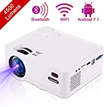 $239 » Video Projector, ANCROWN 2019 Upgraded Android System 4500 Lumens Full HD 1080P Home Theater Projector, 70,000 Hours LED Service Life, Bluetooth WiFi Mini Projector for Smartphone, PC, TV Box, et