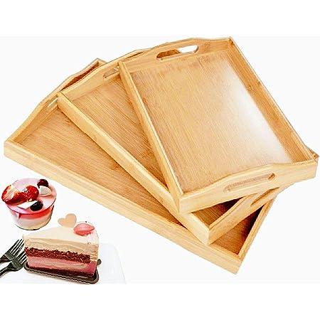 // Serviertablett aus 100/% Bambusholz mit Griffen Frühstücks
