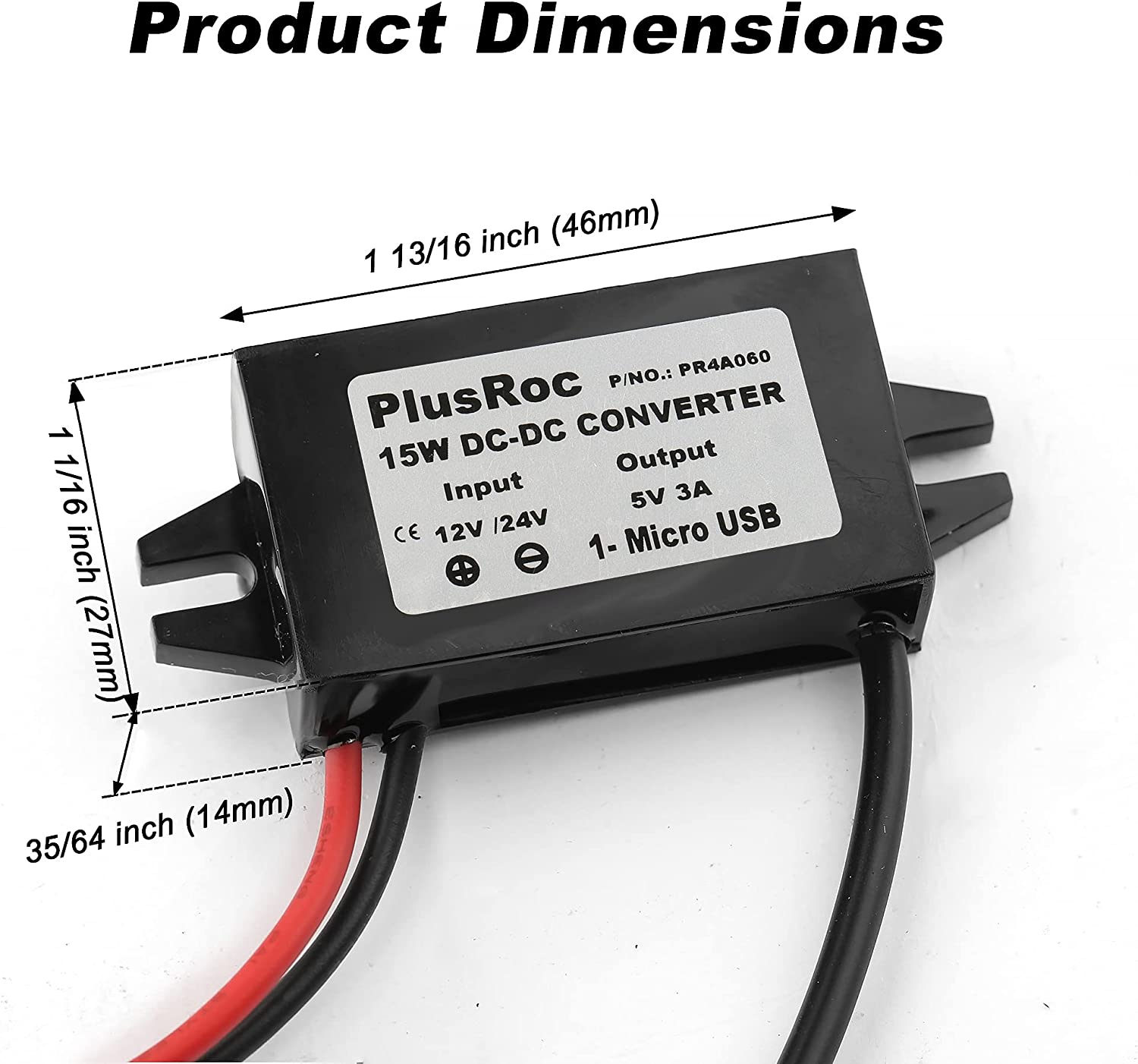 PlusRoc Waterproof 12V/24V to 5V Converter DC-DC Step Down Module Power Adapter Compatible with Ring Keypad, Cellphone, Car (Micro USB Connector)