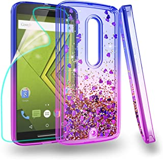 Zingcon Suit for Moto X Play 2015 Phone Case,Moto XT1561 Glitter Quicksand Case,with HD Screen Protector,Shockproof Hybrid Hard PC Soft TPU Bling Adorable Shine Protective Cover-Blue/Purple