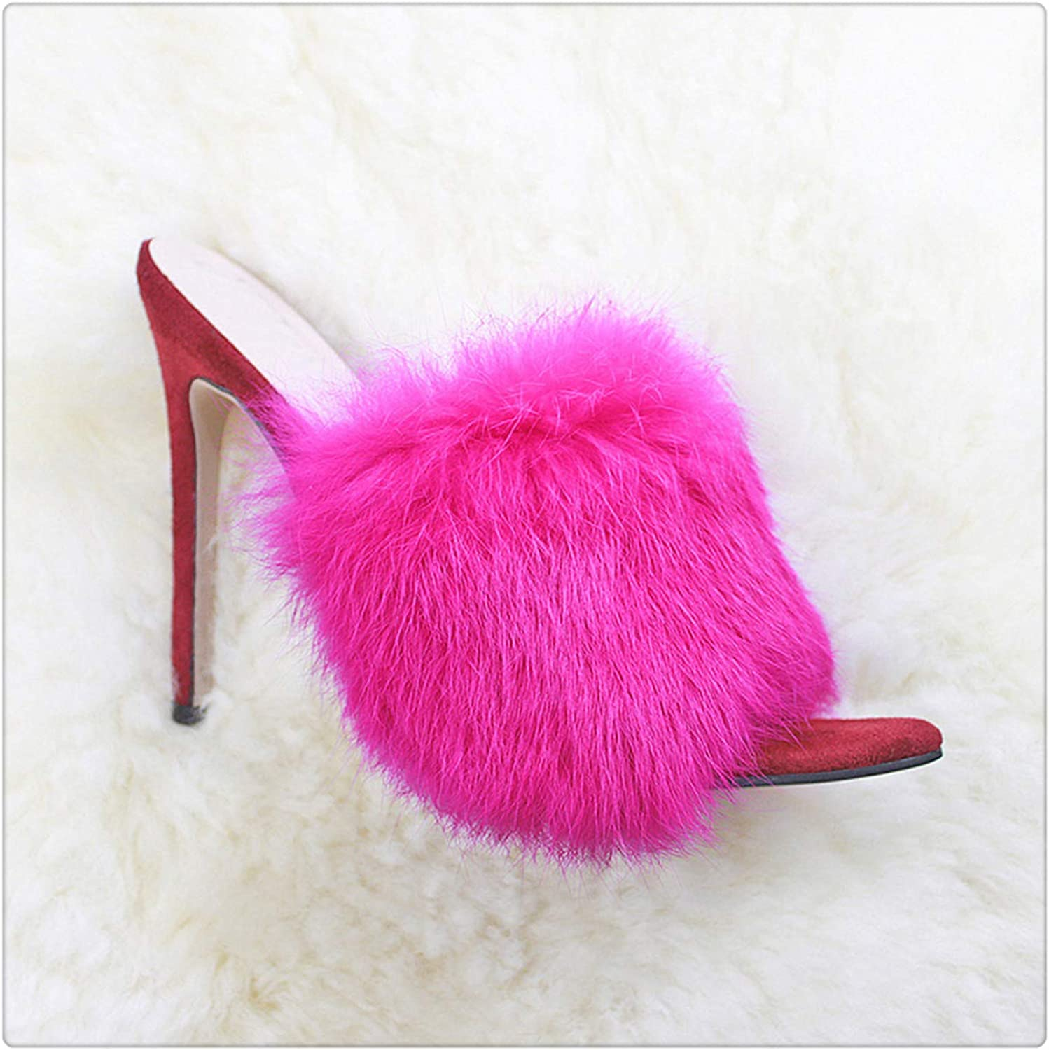 HANGGE& 2019 Fur Women's Pumps Heels shoes High Heel Slippers Women Big Large Size Pointed Toe Ladies Female Slides Fashion Woman shoes Red 9