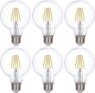Simba Lighting LED Edison Vintage Vanity Globe Filament G25 (G80) 4W Dimmable 40W Equivalent 120V Light Bulb for Bathroom Makeup Mirror, Medium E26 Base, UL Certified, Warm White 2700K, Pack of 6