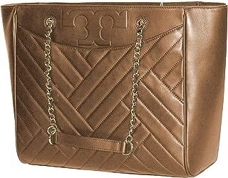 Tory Burch Alexa Flat Large Tote 50641 Women's Leather Handbag Aged Vachetta Beige