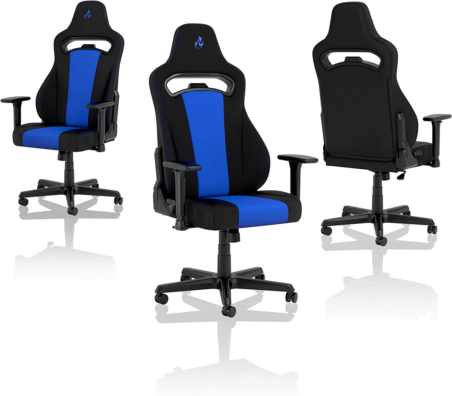 Nitro-Concepts E250 Chaise de Gaming - Chaise de Bureau - 125 kg - Inclinable de 90 ° à 135 ° - Réglable en Hauteur - Accoudoirs 2D - Noir/Rouge Noir/Bleu