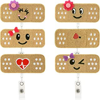 6 Pieces Nurse Badge Reel Holder Set Retractable Cute Felt Nurse Badge Clips with 6 Pieces Waterproof Card Pouch for Women's ID Card Badge, RN Badge, Bandage Badge Reel (Color 1)