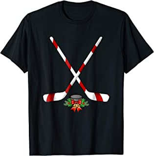 Funny Ice Hockey Christmas T-Shirt Candy Stick Gift Kids