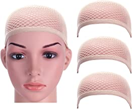 Dreamlover 3 Pack Nude Wig Caps with Thick and Strong Nylon Thread, Durable Mesh Net Fishnet Wig Cap with Close Dome, Perfect for Mermaid Makeup (Natural Nude)