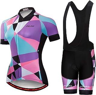 Women's Cycling Jersey, Short Sleeve and Summer Bib Padded Cycling Shorts