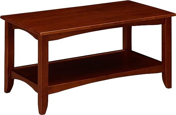 Ravenna Home Dora Classic Shelf Storage Wood Coffee Table 37 W Dark Cherry