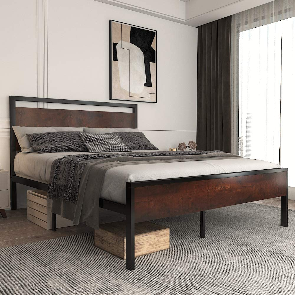 Allewie Queen Size Platform Bed Frame Wood Fo Headboard with and Attention brand Ranking TOP10
