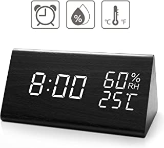 Digital Alarm Clock, with Wooden Electronic LED Time Display, 3 Alarm Settings, Dual Temperature & Humidity Detect, for Desk, Bedroom, Bedside Kids, no Batteries Needed
