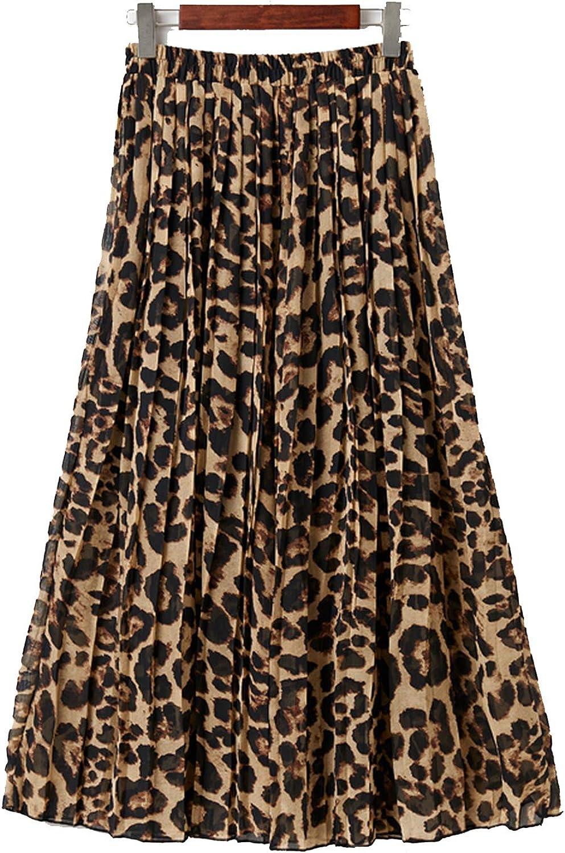 Bluecandy Women's Leopard Skirt Autumn Boho Beach Chiffon Pleated Skirt Womens Casual A-Line Long Skirt