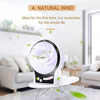 efluky 3 Speeds Mini Desk Fan, Rechargeable Battery Operated Fan with LED Light and 2200mAh Battery, Portable USB Fan...