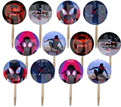 Spiderman Cupcake Picks into the Spider-Verse Movie - Double-sided Images Cake Topper -12, Avengers Marvel Comics