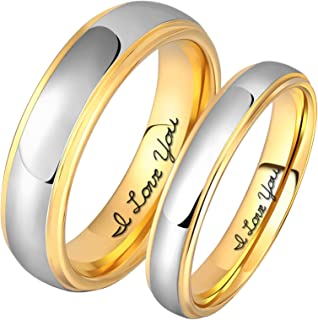 Aeici 4MM 6MM Tungsten Couple Ring Necklace Silver Gold Two Tone Wedding Band Men Women Engraved I Love You
