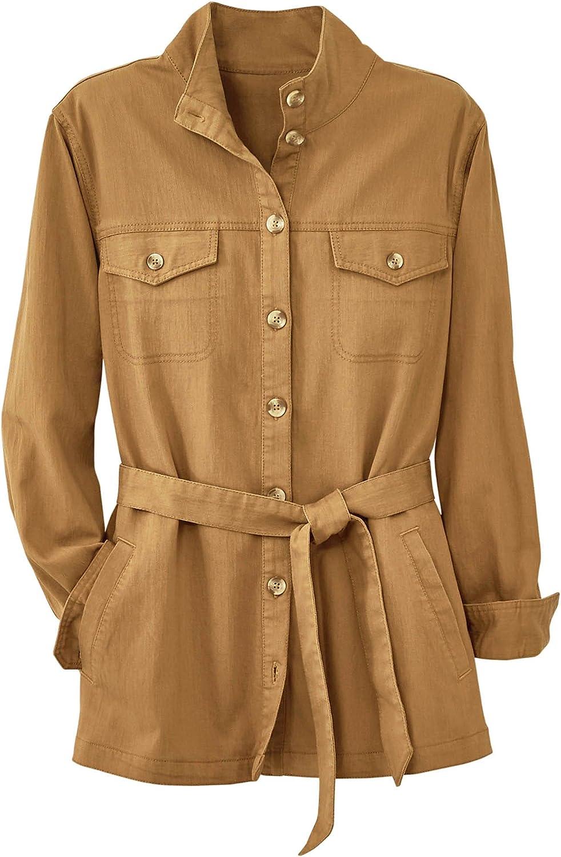 National Safari Style Jacket- Button Front, Stand-Up Collar, Fabric Belt, Chest & Slant Pockets, Stretch Slub Denim