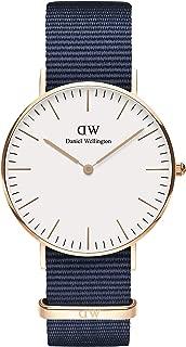 Daniel Wellington Classic Stainless Steel Japanese Quartz Watch with Nylon Strap, Blue, 20 (Model: DW00500471)