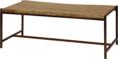 Collective Design Transitional Solid Acacia Wood Live Edge Natural Stain Finish Coffee Table, Antique Bronze